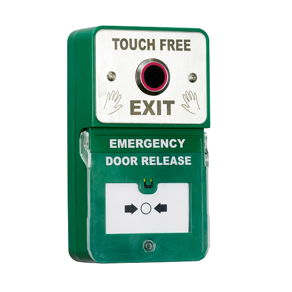Dual Unit Exit and Emergency Door release with Alarm and No Touch Exit button with LED. Door Entry Systems