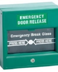 Emergency Door Release - Double Pole Green Break Glass