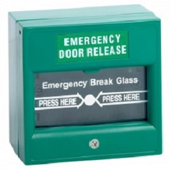 Emergency Door Release – Double Pole Green Break Glass Door Entry Systems