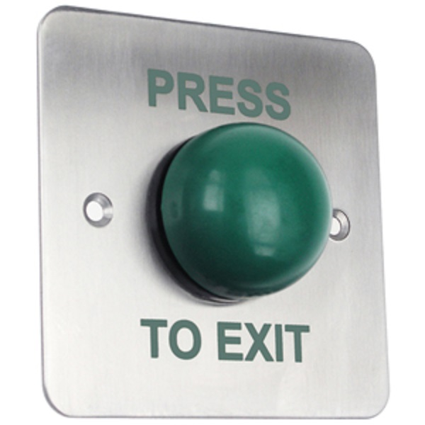 Heavy Duty Flush Green Dome Exit Button / Single Gang Exit