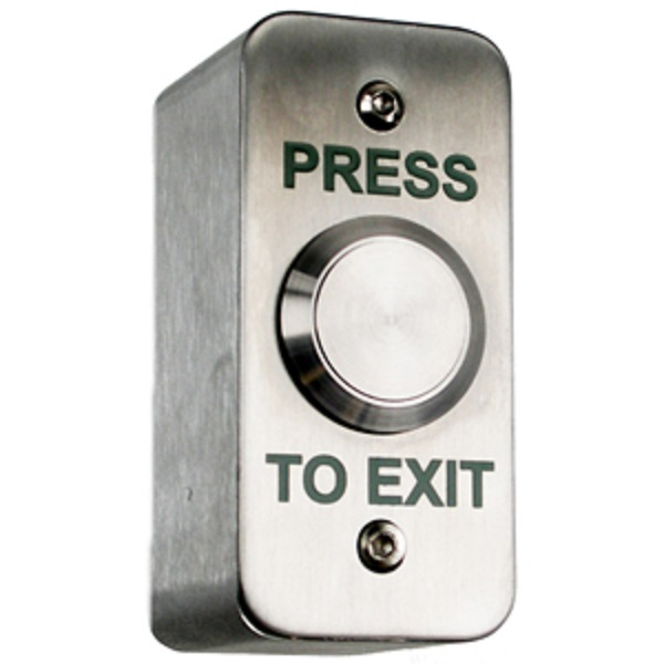 Surface Stainless Exit Button - Narrow Surface Exit