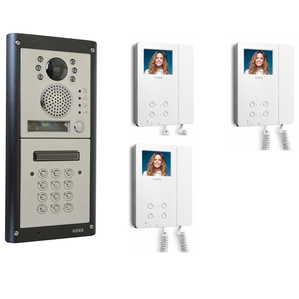 3 Apartment Video Door Entry with Keypad – 3 Way Video System Door Entry Systems