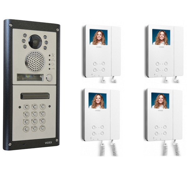 4 Flat Video Entry Kit with Keypad – 4 Way Video System with codelock Door Entry Systems