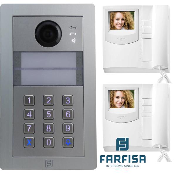 Farfisa Kit DUO 2way Alba c/w Rainhood, Keypad & Exhito Monitor Door Entry Systems