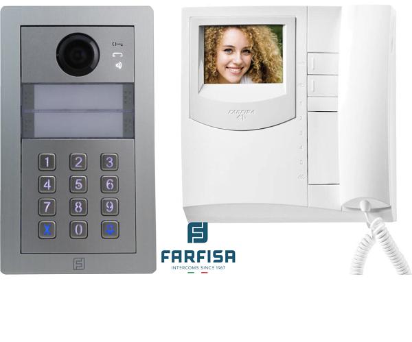 Farfisa Kit DUO 1way Alba c/w rainhood, keypad & Exhito Monitor Door Entry Systems