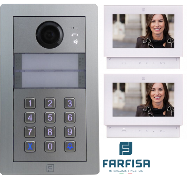 Farfisa Kit DUO 2way Alba c/w Rainhood, Keypad & Sette Monitor