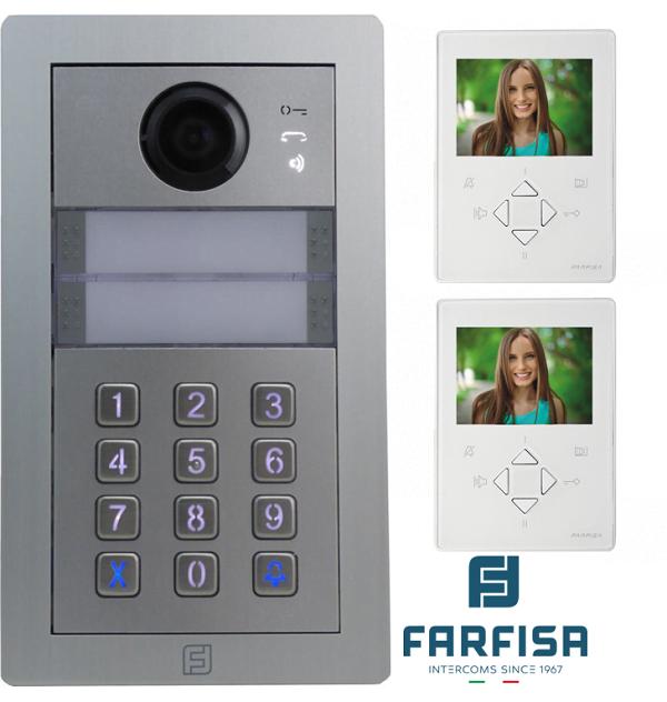 Farfisa DUO 2way Kit Alba c/w Rainhood, Keypad & ZHero Monitor Door Entry Systems