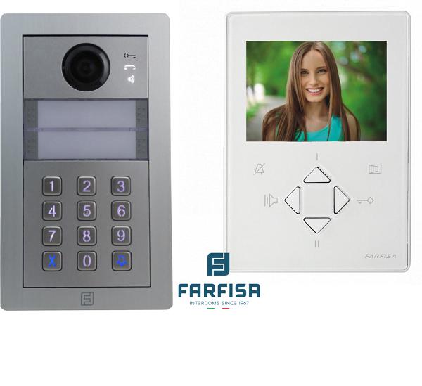 Farfisa DUO 1way Kit Alba c/w Rainhood, Keypad & Zhero Monitor Door Entry Systems