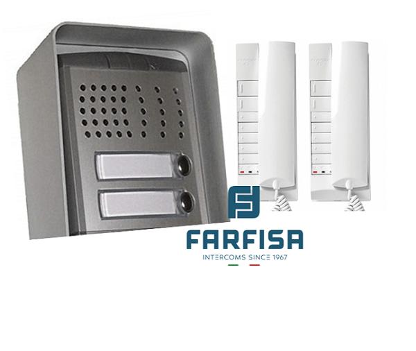 Farfisa 2 Button Profilo / 2 Handset Surface Audio Kit Door Entry Systems