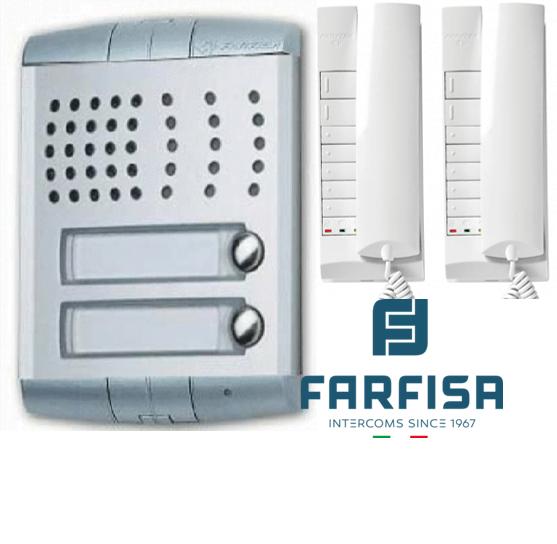 Farfisa Profilo 2 Button / 2 Handset Flush Audio Kit Door Entry Systems