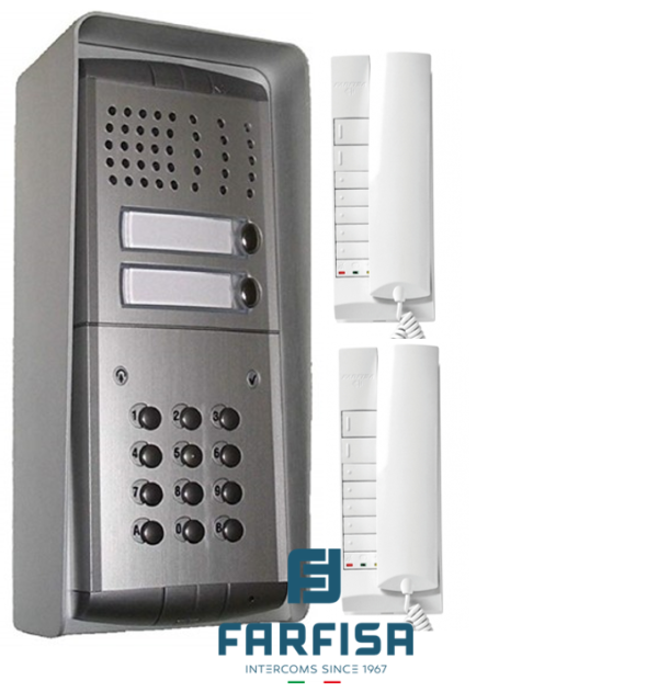 Farfisa Profilo 2 Button With Keypad / 2 Handset Surface Audio Kit Door Entry Systems
